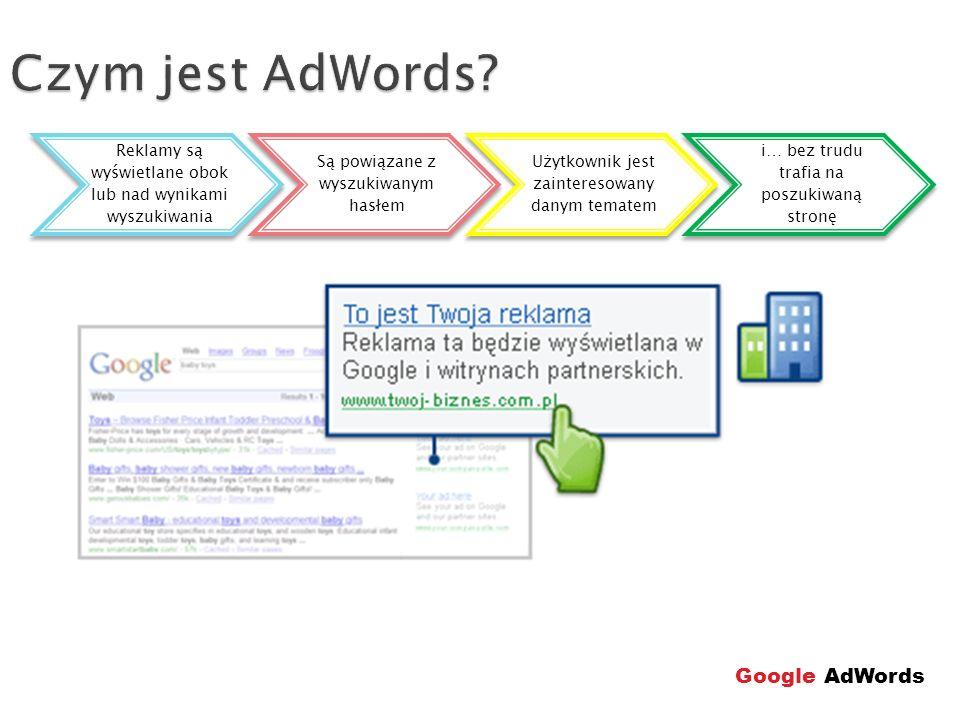 Struktura konta Wybór słów kluczowych, tworzenie reklam Dzienny budżet, określenie zasięgu, inne Kampania komputronik.pl Grupa reklam aparaty cyfrowe Ads 1 ads2 Grupa reklam monitory ads3 Google AdWords