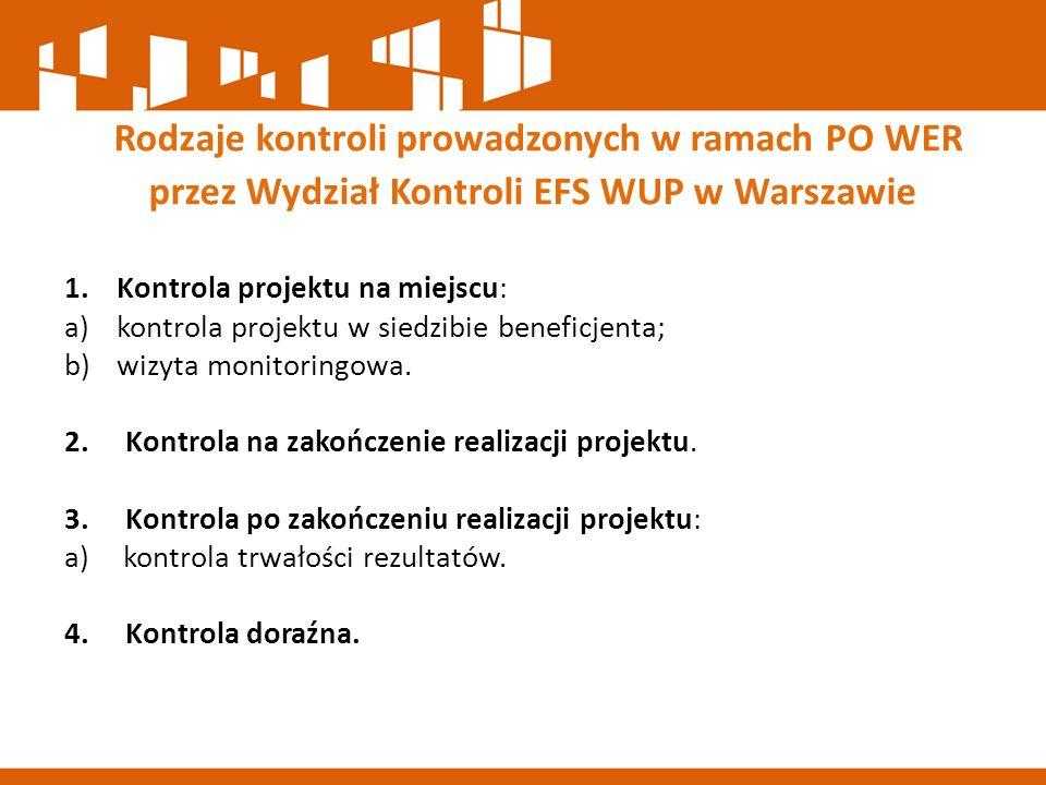 1.Kontrola projektu na miejscu: a)kontrola projektu w siedzibie beneficjenta; b)wizyta monitoringowa. 2. Kontrola na zakończenie realizacji projektu.