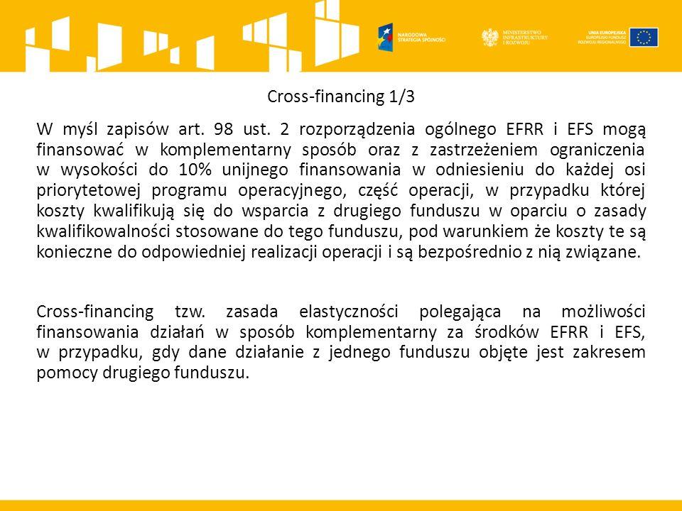 Cross-financing 1/3 W myśl zapisów art. 98 ust.