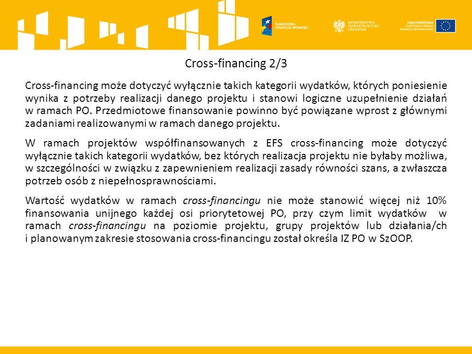 Cross-financing 2/3 Cross-financing może dotyczyć wyłącznie takich kategorii wydatków, których poniesienie wynika z potrzeby realizacji danego projektu i stanowi logiczne uzupełnienie działań w ramach PO.