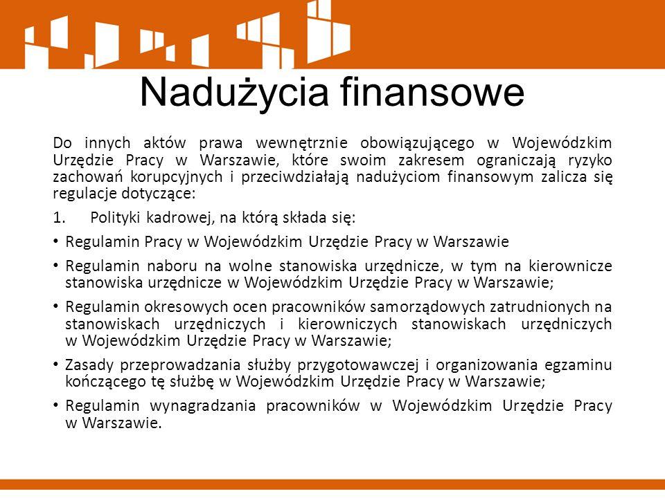 Nadużycia finansowe Do innych aktów prawa wewnętrznie obowiązującego w Wojewódzkim Urzędzie Pracy w Warszawie, które swoim zakresem ograniczają ryzyko