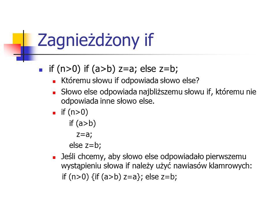 Zagnieżdżony if if (n>0) if (a>b) z=a; else z=b; Któremu słowu if odpowiada słowo else.