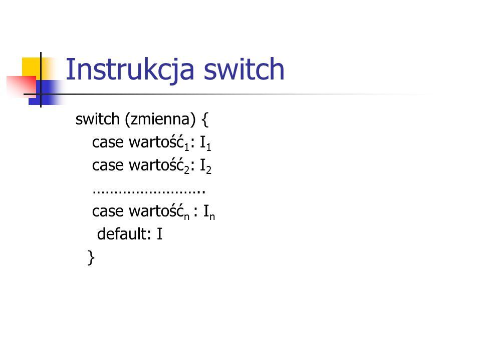 Instrukcja switch switch (zmienna) { case wartość 1 : I 1 case wartość 2 : I 2 ……………………..