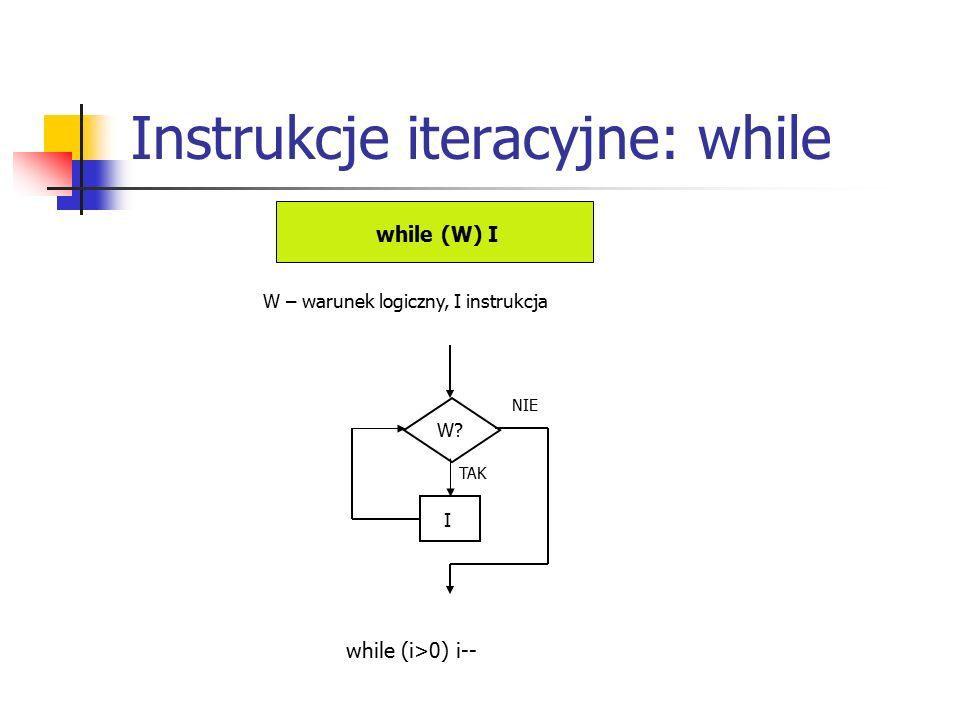 Instrukcje iteracyjne: while while (W) I W – warunek logiczny, I instrukcja W.