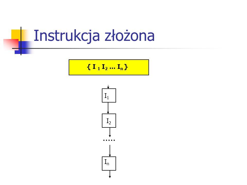 Instrukcja złożona { I 1 I 2 … I n } I1I1 I2I2 InIn.....