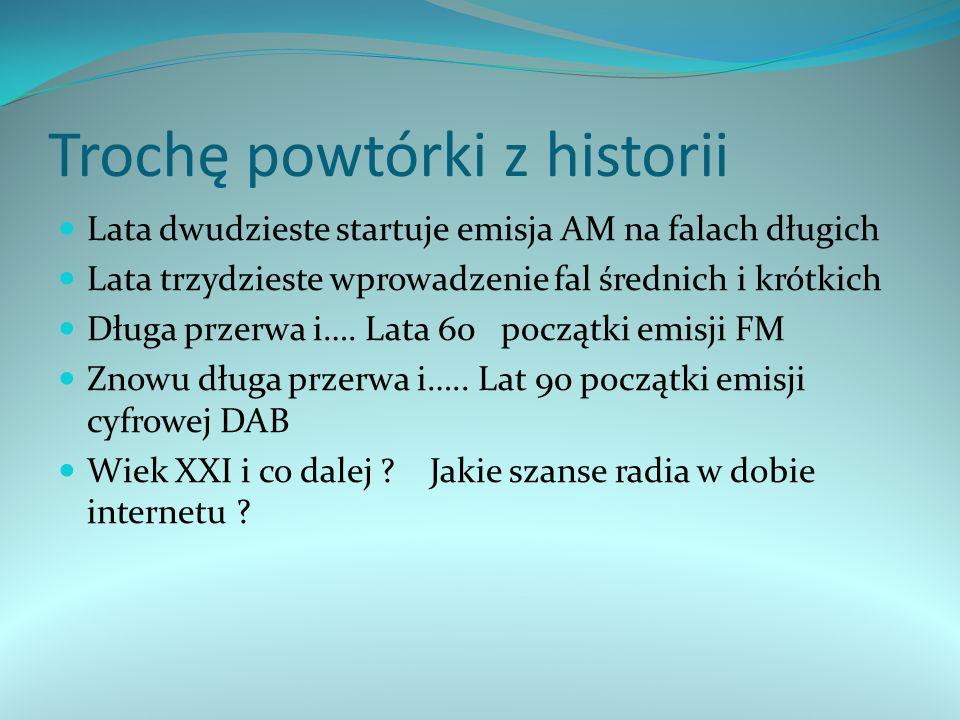Podział świata na standard amerykański i Europejski W USA zwyciężył standard HR High Definition Radio oparty na nadawaniu na modulacji AM W Europie wybrano standard DAB i jego odmiany