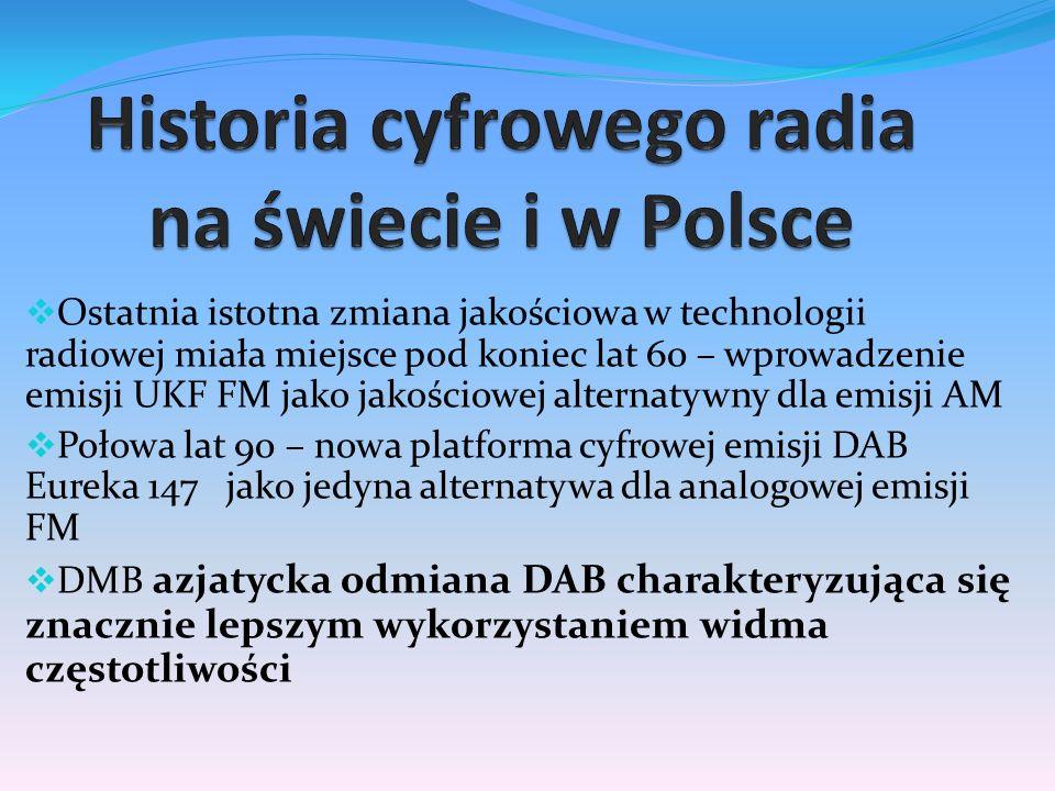  Ostatnia istotna zmiana jakościowa w technologii radiowej miała miejsce pod koniec lat 60 – wprowadzenie emisji UKF FM jako jakościowej alternatywny dla emisji AM  Połowa lat 90 – nowa platforma cyfrowej emisji DAB Eureka 147 jako jedyna alternatywa dla analogowej emisji FM  DMB azjatycka odmiana DAB charakteryzująca się znacznie lepszym wykorzystaniem widma częstotliwości