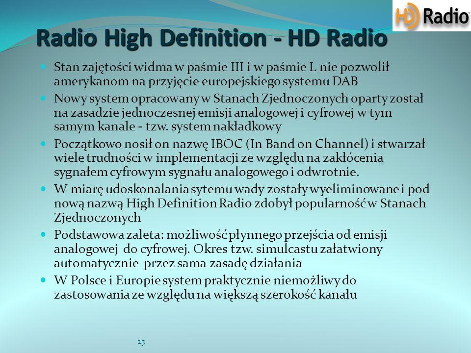 25 Radio High Definition - HD Radio Stan zajętości widma w paśmie III i w paśmie L nie pozwolił amerykanom na przyjęcie europejskiego systemu DAB Nowy system opracowany w Stanach Zjednoczonych oparty został na zasadzie jednoczesnej emisji analogowej i cyfrowej w tym samym kanale - tzw.