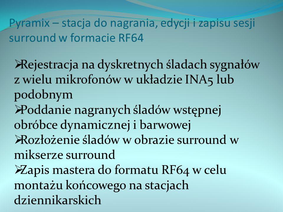 Pyramix – stacja do nagrania, edycji i zapisu sesji surround w formacie RF64  Rejestracja na dyskretnych śladach sygnałów z wielu mikrofonów w układzie INA5 lub podobnym  Poddanie nagranych śladów wstępnej obróbce dynamicznej i barwowej  Rozłożenie śladów w obrazie surround w mikserze surround  Zapis mastera do formatu RF64 w celu montażu końcowego na stacjach dziennikarskich