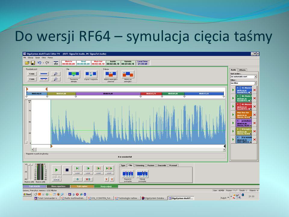 Do wersji RF64 – symulacja cięcia taśmy
