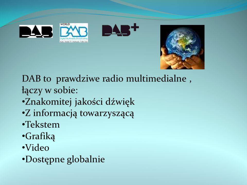 DAB to prawdziwe radio multimedialne, łączy w sobie: Znakomitej jakości dźwięk Z informacją towarzyszącą Tekstem Grafiką Video Dostępne globalnie