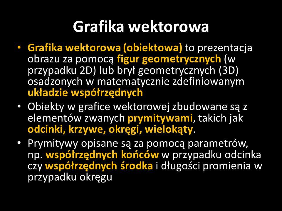 Grafika wektorowa (obiektowa) to prezentacja obrazu za pomocą figur geometrycznych (w przypadku 2D) lub brył geometrycznych (3D) osadzonych w matematy