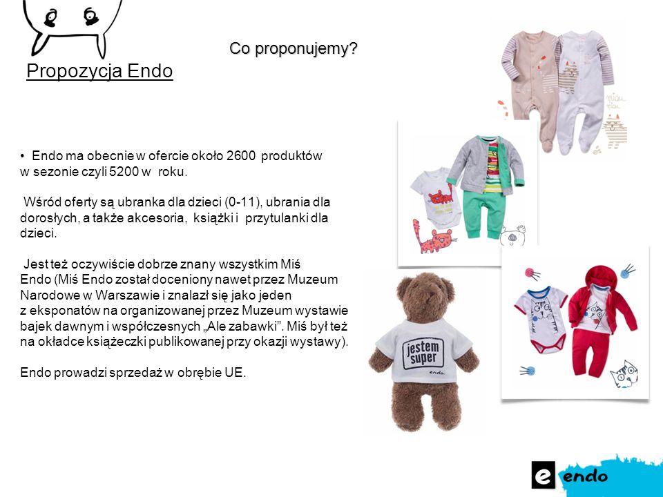 Endo ma obecnie w ofercie około 2600 produktów w sezonie czyli 5200 w roku. Wśród oferty są ubranka dla dzieci (0-11), ubrania dla dorosłych, a także