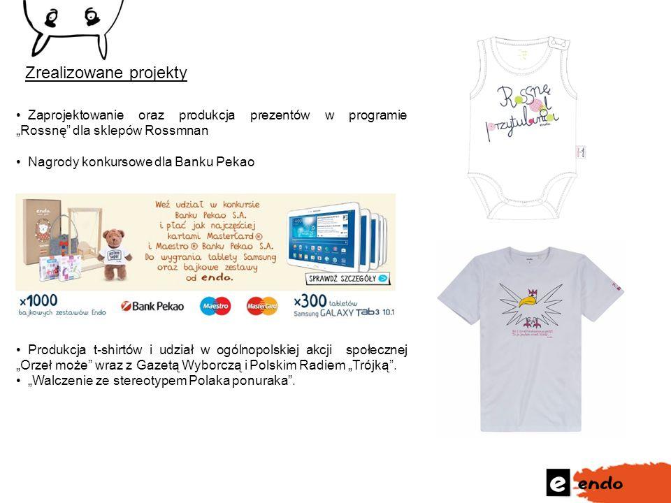 """Zrealizowane projekty Zaprojektowanie oraz produkcja prezentów w programie """"Rossnę"""" dla sklepów Rossmnan Nagrody konkursowe dla Banku Pekao Produkcja"""