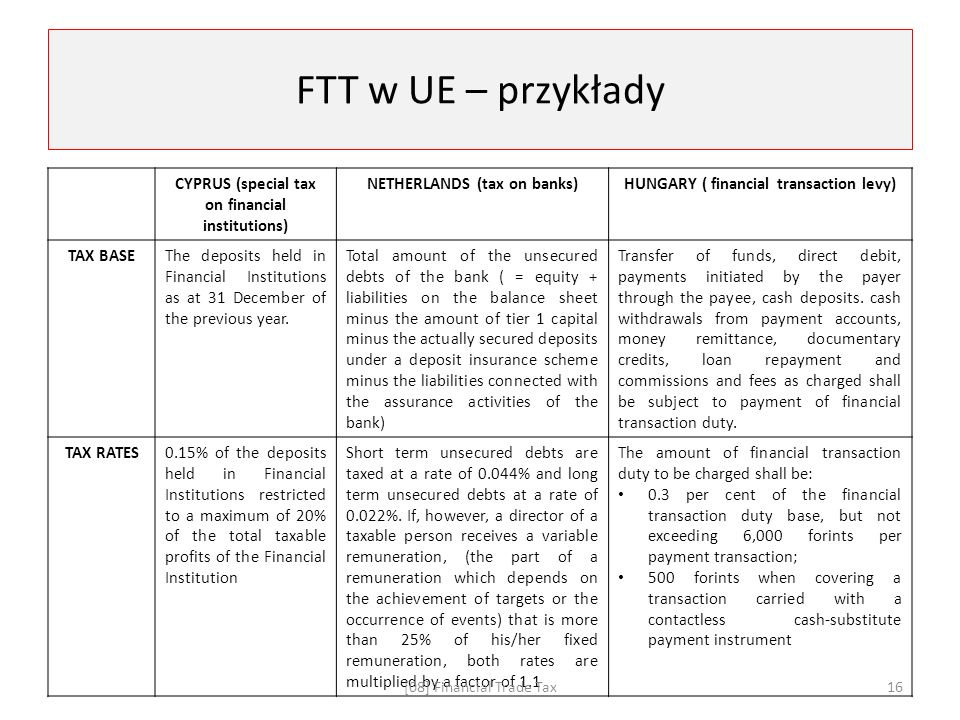 FTT w UE – przykłady CYPRUS (special tax on financial institutions) NETHERLANDS (tax on banks)HUNGARY ( financial transaction levy) TAX BASEThe deposits held in Financial Institutions as at 31 December of the previous year.