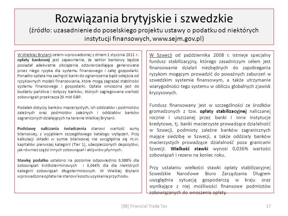 Rozwiązania brytyjskie i szwedzkie (źródło: uzasadnienie do poselskiego projektu ustawy o podatku od niektórych instytucji finansowych, www.sejm.gov.pl) W Wielkiej Brytanii celem wprowadzonej z dniem 1 stycznia 2011 r.