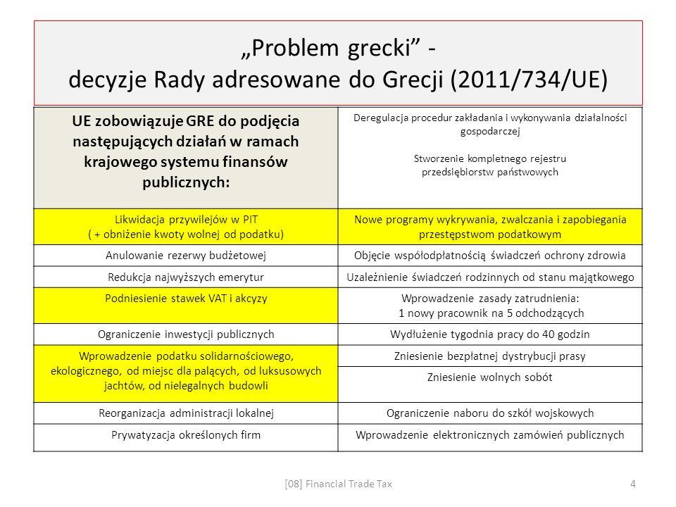 """""""Problem grecki - decyzje Rady adresowane do Grecji (2011/734/UE) UE zobowiązuje GRE do podjęcia następujących działań w ramach krajowego systemu finansów publicznych: Deregulacja procedur zakładania i wykonywania działalności gospodarczej Stworzenie kompletnego rejestru przedsiębiorstw państwowych Likwidacja przywilejów w PIT ( + obniżenie kwoty wolnej od podatku) Nowe programy wykrywania, zwalczania i zapobiegania przestępstwom podatkowym Anulowanie rezerwy budżetowejObjęcie współodpłatnością świadczeń ochrony zdrowia Redukcja najwyższych emeryturUzależnienie świadczeń rodzinnych od stanu majątkowego Podniesienie stawek VAT i akcyzyWprowadzenie zasady zatrudnienia: 1 nowy pracownik na 5 odchodzących Ograniczenie inwestycji publicznychWydłużenie tygodnia pracy do 40 godzin Wprowadzenie podatku solidarnościowego, ekologicznego, od miejsc dla palących, od luksusowych jachtów, od nielegalnych budowli Zniesienie bezpłatnej dystrybucji prasy Zniesienie wolnych sobót Reorganizacja administracji lokalnejOgraniczenie naboru do szkół wojskowych Prywatyzacja określonych firmWprowadzenie elektronicznych zamówień publicznych [08] Financial Trade Tax4"""