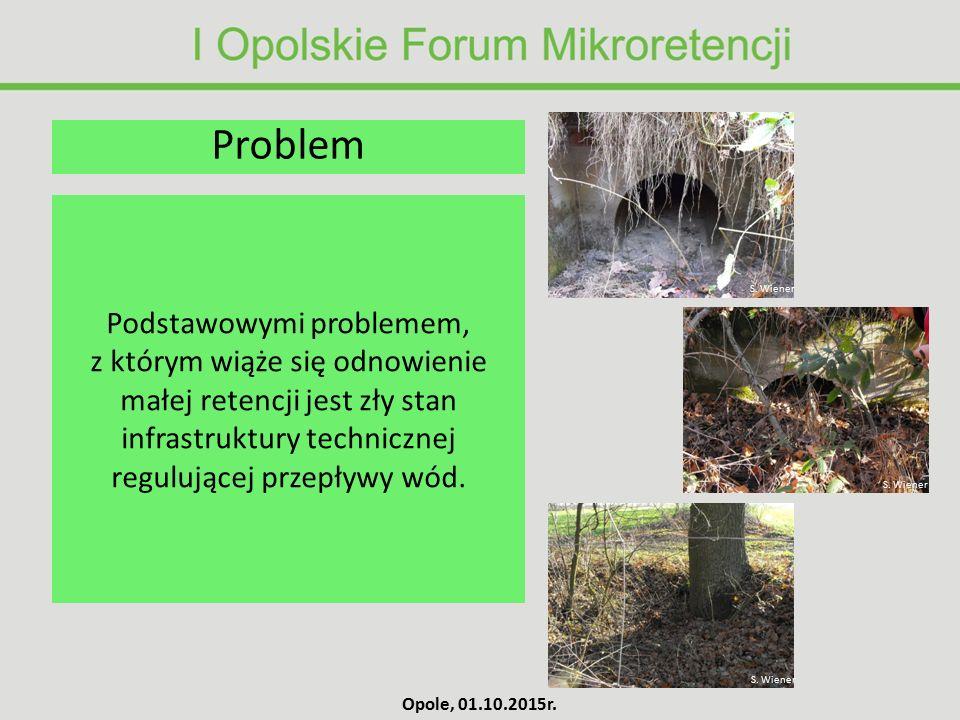 Podstawowymi problemem, z którym wiąże się odnowienie małej retencji jest zły stan infrastruktury technicznej regulującej przepływy wód. Problem S. Wi