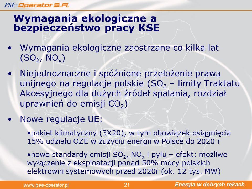 Energia w dobrych rękach www.pse-operator.pl21 Wymagania ekologiczne zaostrzane co kilka lat (SO 2, NO x ) Niejednoznaczne i spóźnione przełożenie prawa unijnego na regulacje polskie (SO 2 – limity Traktatu Akcesyjnego dla dużych źródeł spalania, rozdział uprawnień do emisji CO 2 ) Nowe regulacje UE: pakiet klimatyczny (3X20), w tym obowiązek osiągnięcia 15% udziału OZE w zużyciu energii w Polsce do 2020 r nowe standardy emisji SO 2, NO x i pyłu – efekt: możliwe wyłączenie z eksploatacji ponad 50% mocy polskich elektrowni systemowych przed 2020r (ok.