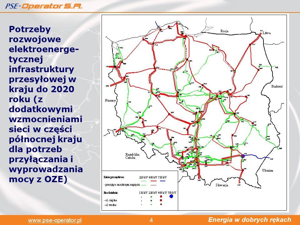 Energia w dobrych rękach www.pse-operator.pl4 Potrzeby rozwojowe elektroenerge- tycznej infrastruktury przesyłowej w kraju do 2020 roku (z dodatkowymi wzmocnieniami sieci w części północnej kraju dla potrzeb przyłączania i wyprowadzania mocy z OZE)