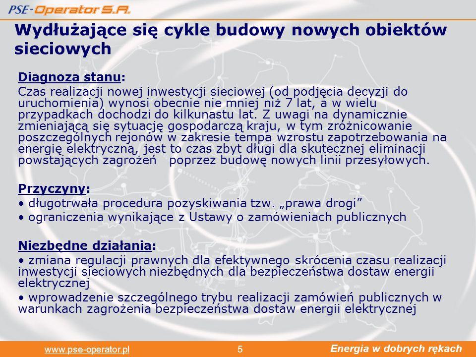 Energia w dobrych rękach www.pse-operator.pl5 Wydłużające się cykle budowy nowych obiektów sieciowych Diagnoza stanu: Czas realizacji nowej inwestycji sieciowej (od podjęcia decyzji do uruchomienia) wynosi obecnie nie mniej niż 7 lat, a w wielu przypadkach dochodzi do kilkunastu lat.