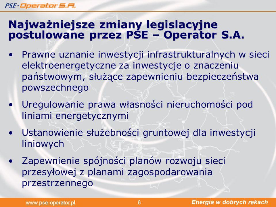Energia w dobrych rękach www.pse-operator.pl6 Prawne uznanie inwestycji infrastrukturalnych w sieci elektroenergetyczne za inwestycje o znaczeniu państwowym, służące zapewnieniu bezpieczeństwa powszechnego Uregulowanie prawa własności nieruchomości pod liniami energetycznymi Ustanowienie służebności gruntowej dla inwestycji liniowych Zapewnienie spójności planów rozwoju sieci przesyłowej z planami zagospodarowania przestrzennego Najważniejsze zmiany legislacyjne postulowane przez PSE – Operator S.A.