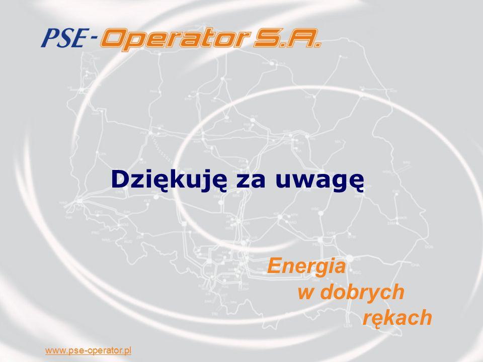 www.pse-operator.pl Dziękuję za uwagę Energia w dobrych rękach