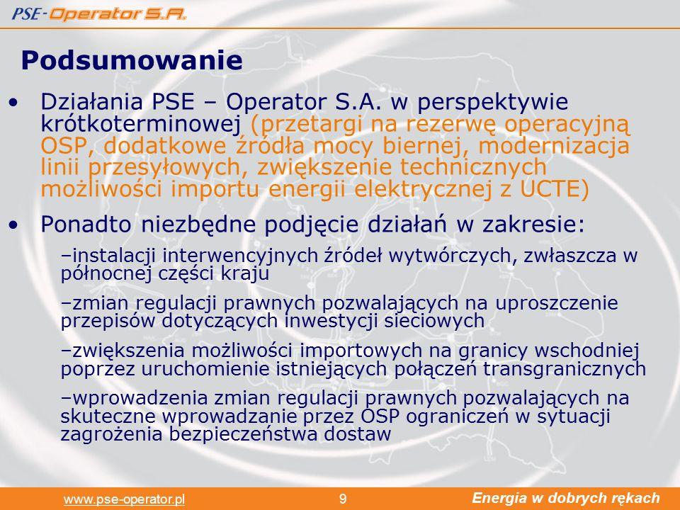Energia w dobrych rękach www.pse-operator.pl9 Działania PSE – Operator S.A.