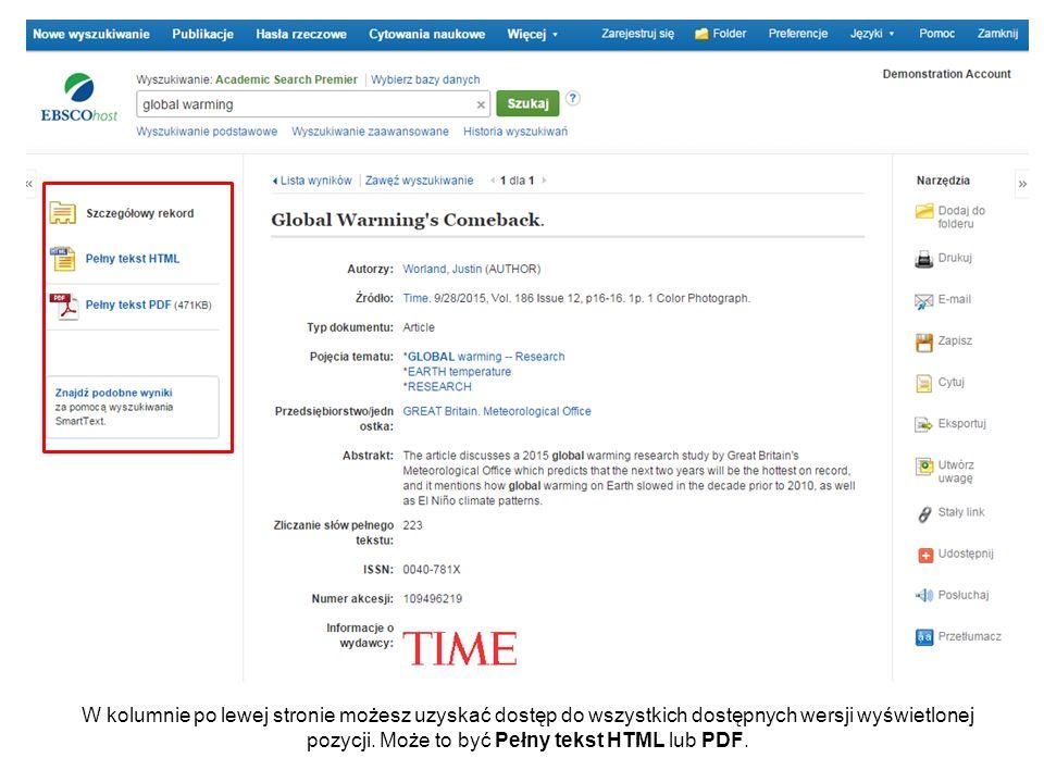 W kolumnie po lewej stronie możesz uzyskać dostęp do wszystkich dostępnych wersji wyświetlonej pozycji. Może to być Pełny tekst HTML lub PDF.