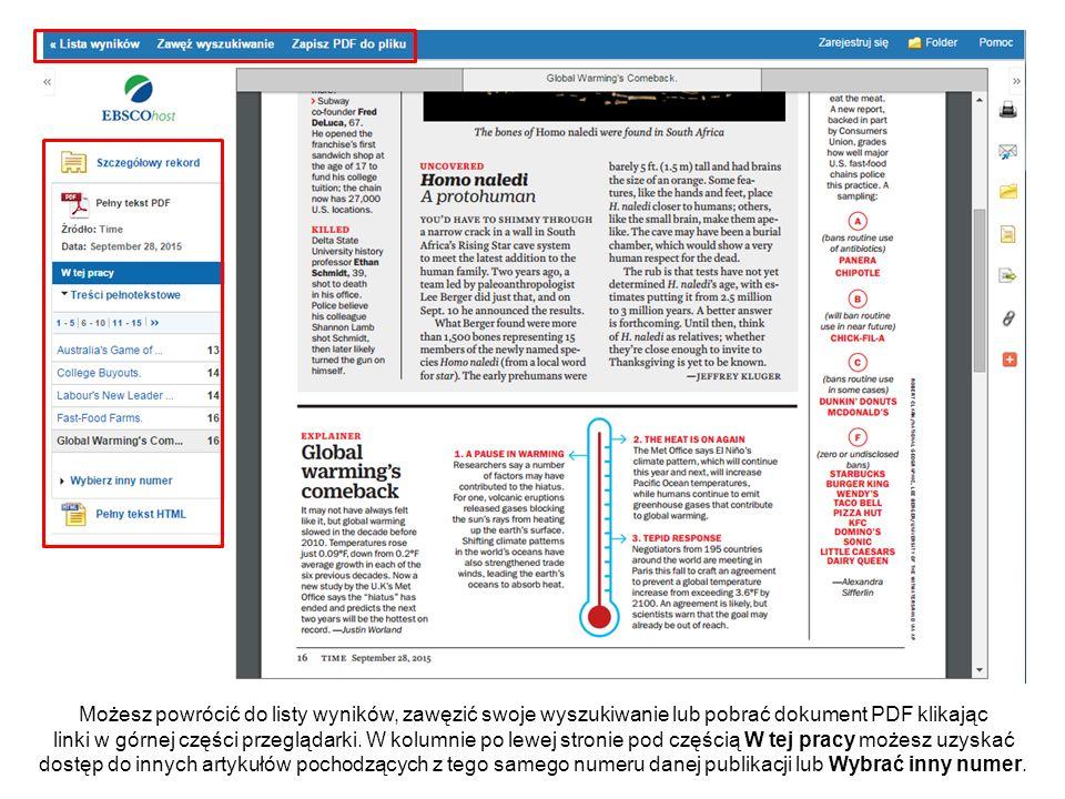 Możesz powrócić do listy wyników, zawęzić swoje wyszukiwanie lub pobrać dokument PDF klikając linki w górnej części przeglądarki. W kolumnie po lewej