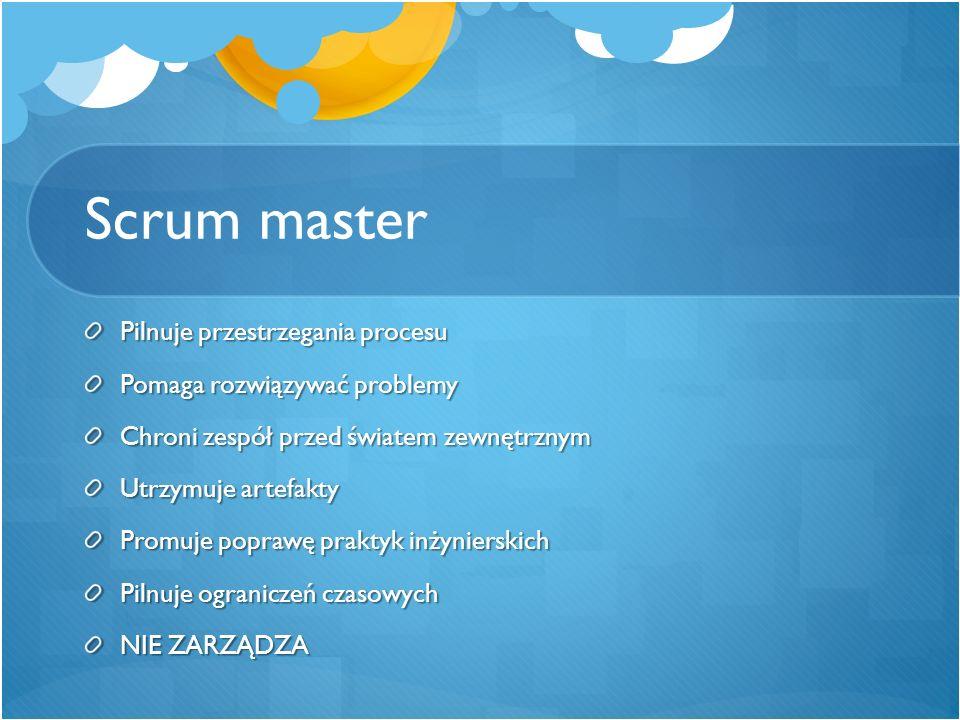 Scrum master Pilnuje przestrzegania procesu Pomaga rozwiązywać problemy Chroni zespół przed światem zewnętrznym Utrzymuje artefakty Promuje poprawę pr