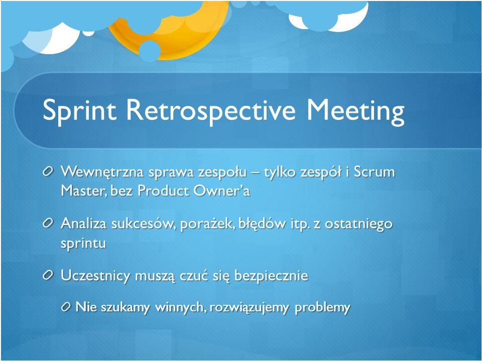Sprint Retrospective Meeting Wewnętrzna sprawa zespołu – tylko zespół i Scrum Master, bez Product Owner'a Analiza sukcesów, porażek, błędów itp. z ost