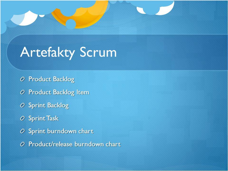 Artefakty Scrum Product Backlog Product Backlog Item Sprint Backlog Sprint Task Sprint burndown chart Product/release burndown chart