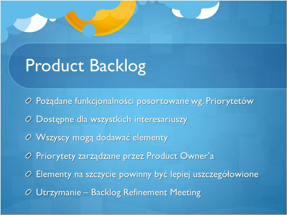 Product Backlog Pożądane funkcjonalności posortowane wg. Priorytetów Dostępne dla wszystkich interesariuszy Wszyscy mogą dodawać elementy Priorytety z