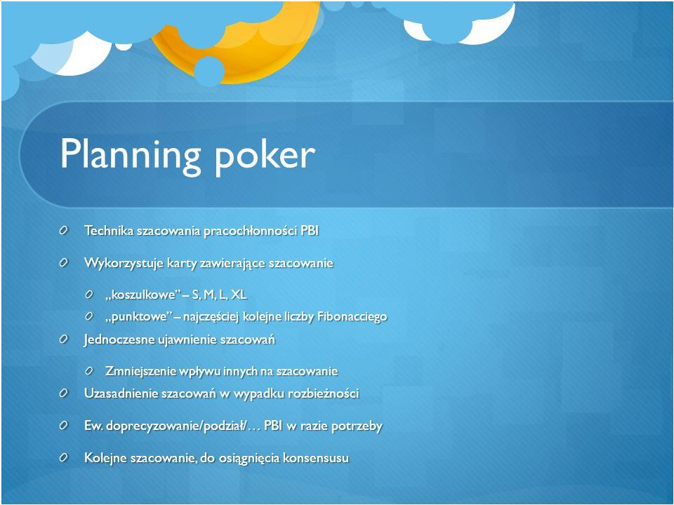 """Planning poker Technika szacowania pracochłonności PBI Wykorzystuje karty zawierające szacowanie """"koszulkowe"""" – S, M, L, XL """"punktowe"""" – najczęściej k"""