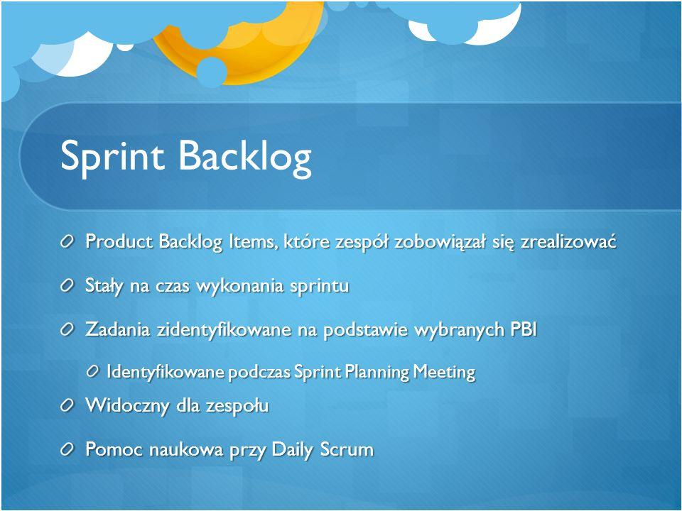 Sprint Backlog Product Backlog Items, które zespół zobowiązał się zrealizować Stały na czas wykonania sprintu Zadania zidentyfikowane na podstawie wyb