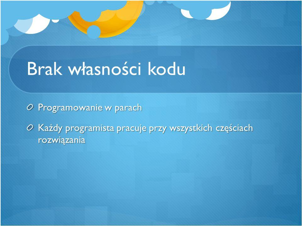 Brak własności kodu Programowanie w parach Każdy programista pracuje przy wszystkich częściach rozwiązania