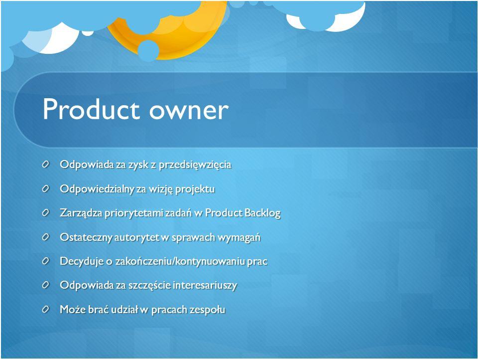 Product owner Odpowiada za zysk z przedsięwzięcia Odpowiedzialny za wizję projektu Zarządza priorytetami zadań w Product Backlog Ostateczny autorytet
