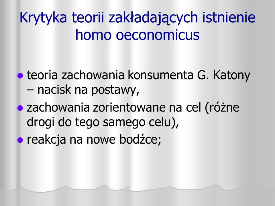 Krytyka teorii zakładających istnienie homo oeconomicus teoria zachowania konsumenta G. Katony – nacisk na postawy, zachowania zorientowane na cel (ró