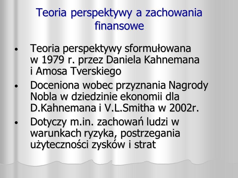 Teoria perspektywy a zachowania finansowe Teoria perspektywy sformułowana w 1979 r. przez Daniela Kahnemana i Amosa Tverskiego Teoria perspektywy sfor