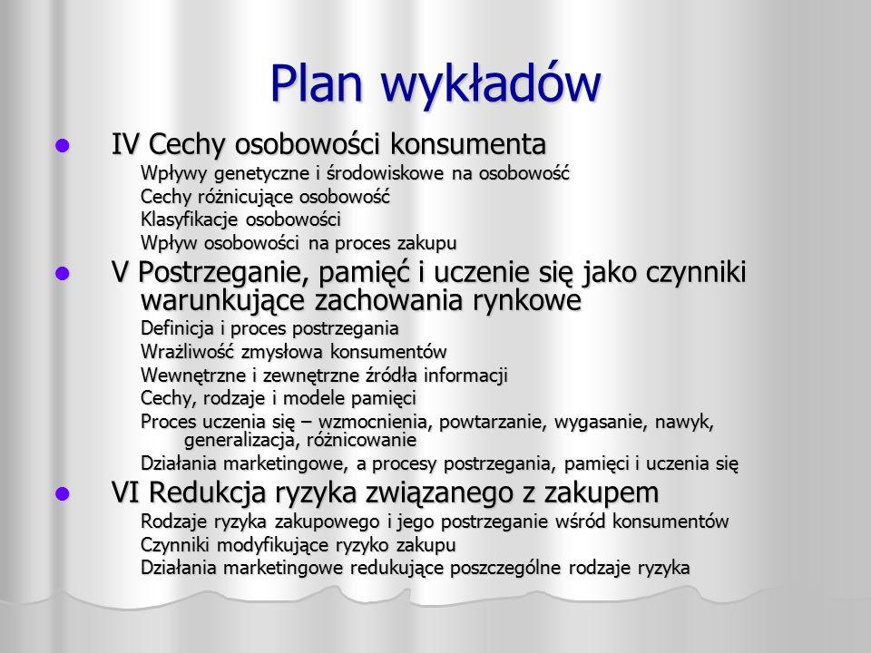 Plan wykładów IV Cechy osobowości konsumenta IV Cechy osobowości konsumenta Wpływy genetyczne i środowiskowe na osobowość Cechy różnicujące osobowość