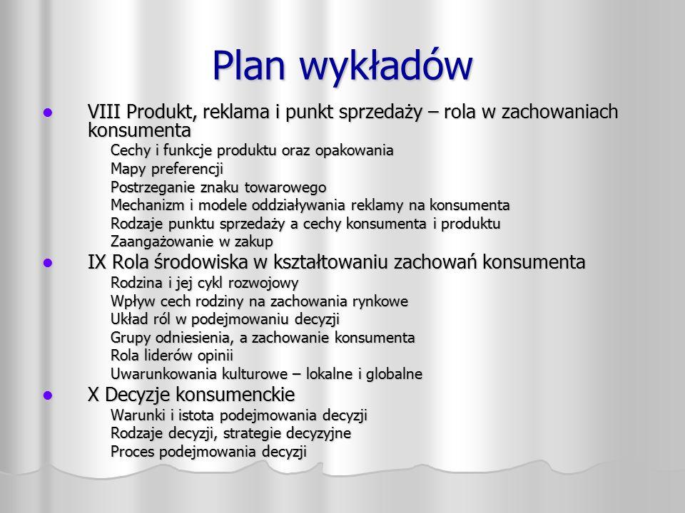 Plan wykładów VIII Produkt, reklama i punkt sprzedaży – rola w zachowaniach konsumenta VIII Produkt, reklama i punkt sprzedaży – rola w zachowaniach k