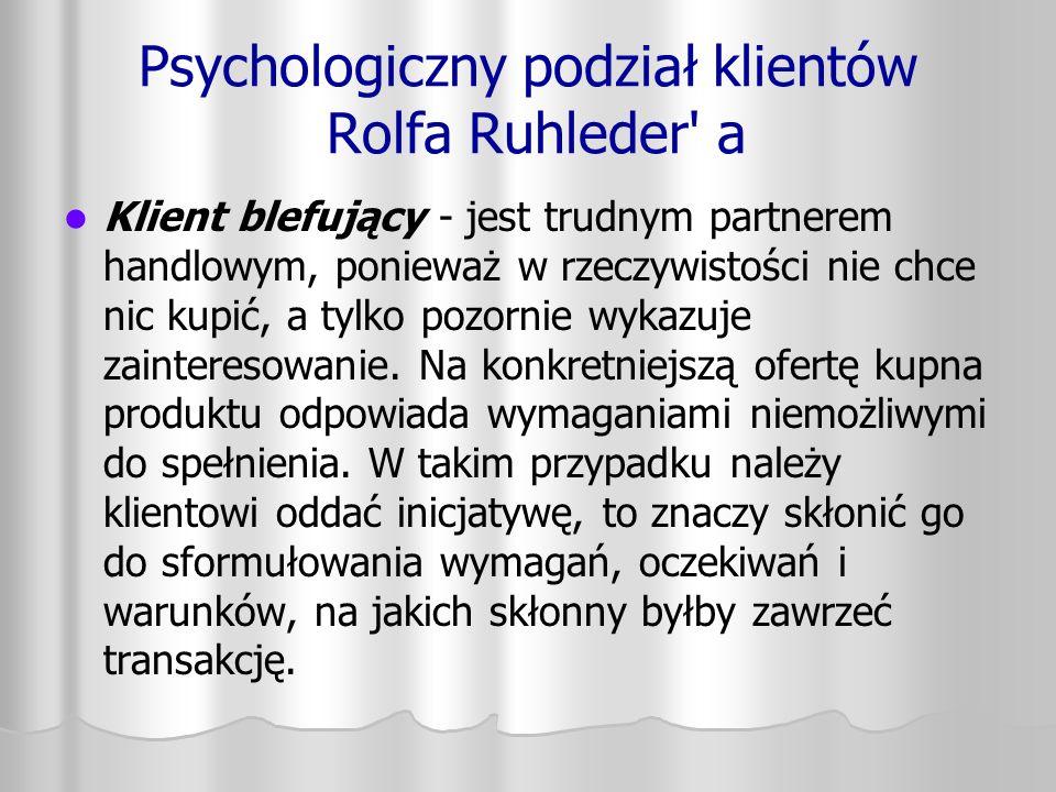 Psychologiczny podział klientów Rolfa Ruhleder' a Klient blefujący - jest trudnym partnerem handlowym, ponieważ w rzeczywistości nie chce nic kupić, a