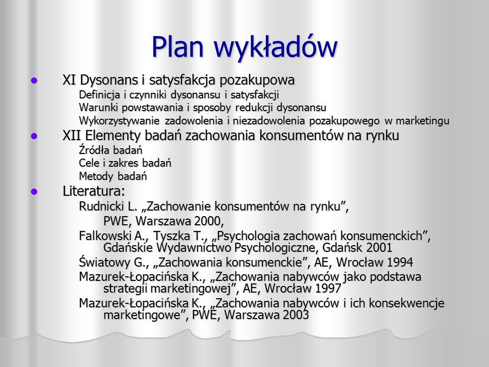 Plan wykładów XI Dysonans i satysfakcja pozakupowa XI Dysonans i satysfakcja pozakupowa Definicja i czynniki dysonansu i satysfakcji Warunki powstawan