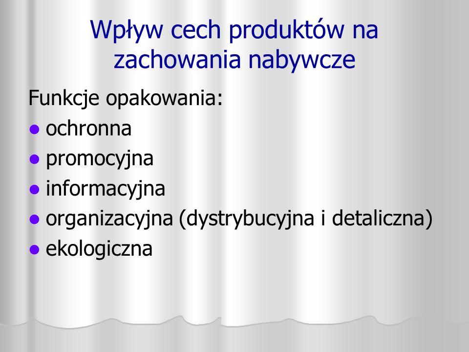 Wpływ cech produktów na zachowania nabywcze Funkcje opakowania: ochronna promocyjna informacyjna organizacyjna (dystrybucyjna i detaliczna) ekologiczn