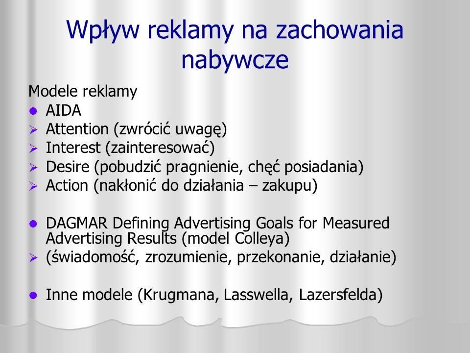 Wpływ reklamy na zachowania nabywcze Modele reklamy AIDA   Attention (zwrócić uwagę)   Interest (zainteresować)   Desire (pobudzić pragnienie, c