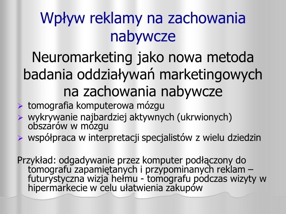 Wpływ reklamy na zachowania nabywcze Neuromarketing jako nowa metoda badania oddziaływań marketingowych na zachowania nabywcze   tomografia komputer
