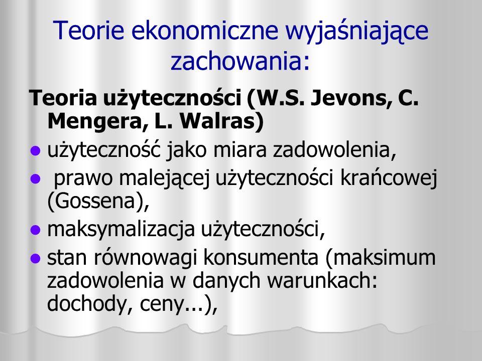 Teorie ekonomiczne wyjaśniające zachowania: Teoria użyteczności (W.S. Jevons, C. Mengera, L. Walras) użyteczność jako miara zadowolenia, prawo malejąc