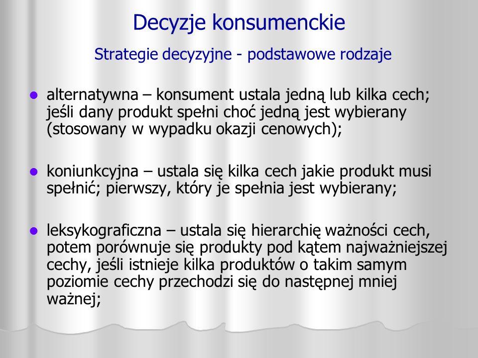 Decyzje konsumenckie Strategie decyzyjne - podstawowe rodzaje alternatywna – konsument ustala jedną lub kilka cech; jeśli dany produkt spełni choć jed