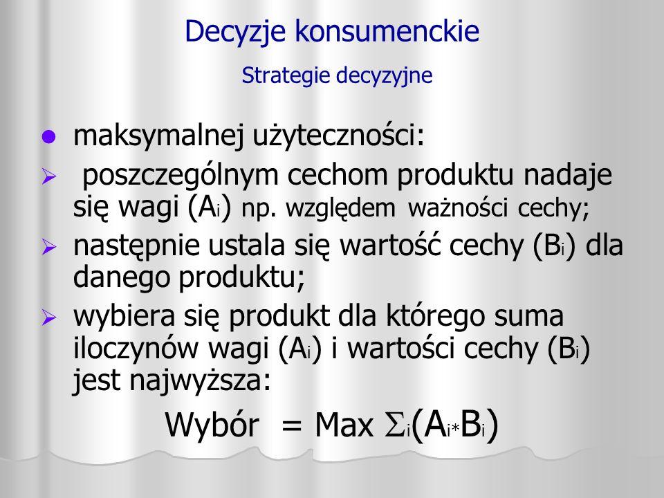 Decyzje konsumenckie Strategie decyzyjne maksymalnej użyteczności:   poszczególnym cechom produktu nadaje się wagi (A i ) np. względem ważności cech